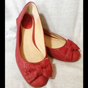 Frye Esther Bow ballet flats, RED, sz 7M